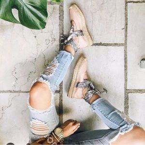 NWOT ZARA • Blush Pink Leather Espadrille Flats!